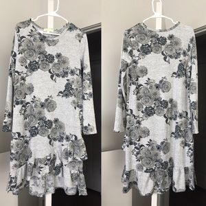 Dresses & Skirts - Floral Sweater Style Dress with Ruffle Hem